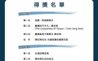 第二屆「Mr.陳定南」卡通版動畫比賽得奬公告